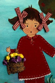 Cuadro infantil 3D Niña recogiendo flores silvestres, decoración para la habitación de los niños