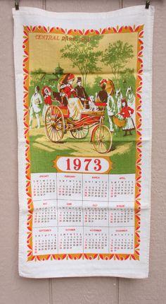 Vintage Calendar Towel 1973 Vintage Central by TheMixingBowlOnline, $5.95