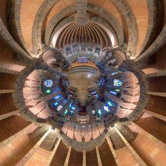 Chapel in the Colonia Guell in Santa Coloma de Cervello (Catalonia, Spain). Barcelona Architecture, Amazing Architecture, Art And Architecture, Antonio Gaudi, Perspective Photography, Spanish Design, Art Nouveau, Spain, Barcelona Catalonia