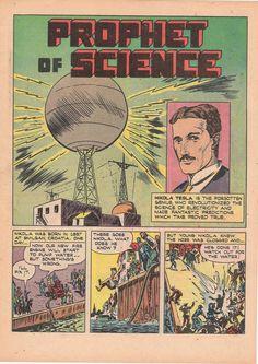 """Nikola #Tesla también aparece en los cómics. Aquí un ejemplo: """"El profeta de la ciencia""""."""