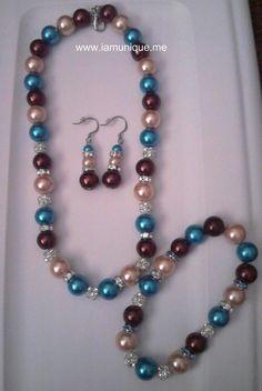 Multi-Color Glass Pearl Wedding Choker, Bracelet & Earrings. $30.00, via Etsy.