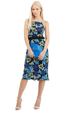 Topshop Embroidered Floral Midi Dress available at #Nordstrom