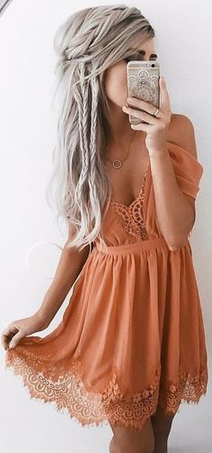 #summer #elegant #feminine | Burnt Orange Lace Details Little Dress