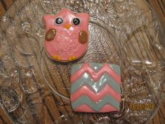 Pink Owl and Pink & Gray Chevron Sugar Cookies