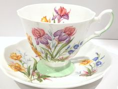 Antique Salisbury Iris Daffodil Cup and Saucer, English Bone China, Vintage Tea Party, Floral Tea Cups, Antique Teacups, Iris Cups