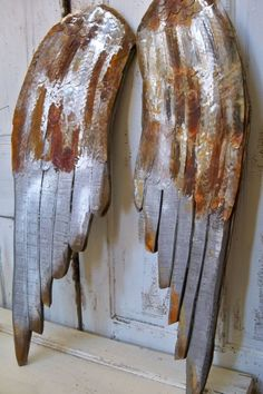 Large wooden wings wall sculpture rusty metal by AnitaSperoDesign
