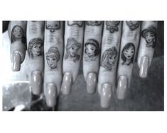 Disney Princess knuckle tattoos. not my thing but these are so amazingly detailed