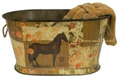 Le Cheval Metal Tub - Large Furniture & Accents - Home Accents - By Creative Co-Op at Horse and Hound Gallery