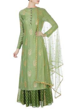 Buy Green sequin kurta with skirt & net dupatta by Joy Mitra at Aza Fashions Kurti Neck Designs, Dress Neck Designs, Stylish Dress Designs, Kurta Designs Women, Kurti Designs Party Wear, Blouse Designs, New Designer Dresses, Indian Designer Suits, Pakistani Dress Design