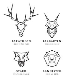 How To Draw 'Game Of Thrones' Line Art Logos, don't watch 'Game Of Thrones' but i like these geometric animals