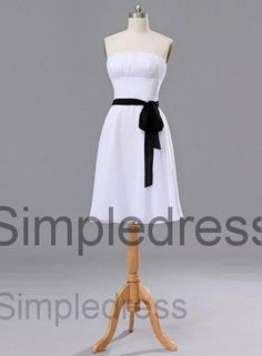 Custom A-line Strapless Sleeveless Knee-length Sash Chiffon Short Bridesmaid/Evening/Party/Homecoming/Prom/Cocktail Dresses 2013