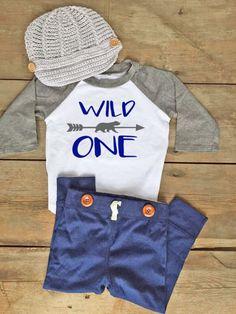 Boy First Birthday Outfit - First Birthday Outfit for Baby Boy - Wild One Raglan - Newsboy Hat Baby Boy - First Birthday Raglan Shirt Boy