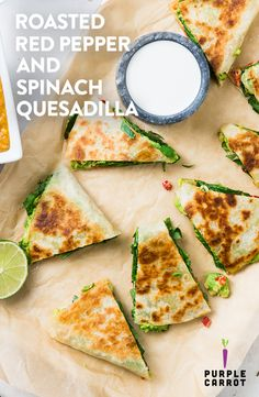 If you're searching for an easy-to-make dinner recipe, we at Purple Carrot have got you covered with our vegan roasted red pepper and spinach quesadilla recipe with refried red lentils and lime crema. This plant-based dish is stuffed with tasty, healthy ingredients like spinach, roasted red peppers, and avocado and we've topped off this delicious Mexican food with creamy, dairy free Kite Hill cream cheese that melts over the vegetables. Refried red lentils are packed with protein.