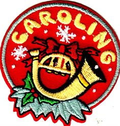 "[Single Count] Custom and Unique (2"" Inches) Round Seasonal Holiday Festive Xmas Traditions Christmas Caroling Text With Holly Horn Iron On Embroidered Applique Patch {Green, Red & Gold Colors} mySimple Products"