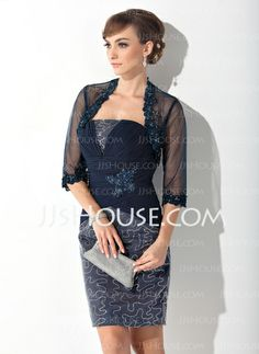 Mother of the Bride Dresses - $128.99 - Sheath Strapless Knee-Length Chiffon Charmeuse Mother of the Bride Dress With Ruffle Lace Beading Sequins (008015141) http://jjshouse.com/Sheath-Strapless-Knee-Length-Chiffon-Charmeuse-Mother-Of-The-Bride-Dress-With-Ruffle-Lace-Beading-Sequins-008015141-g15141