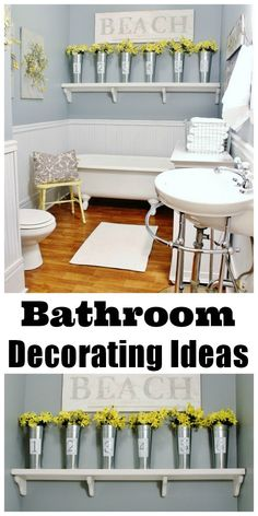 Looking to update your bathroom with a few projects!  Add some painted tins and little pops of yellow to update in an afternoon.
