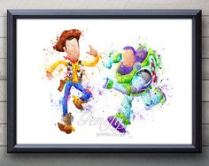 Disney Toy Story Woody and Buzz Lightyear Watercolor Painting Art Poster Print Wall Decor https://www.etsy.com/shop/genefyprints