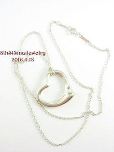 "Tiffany & Co Elsa Peretti Sterling Silver 925 27mm Med Open Heart on 20"" Chain #TiffanyCo #PendantonChain"
