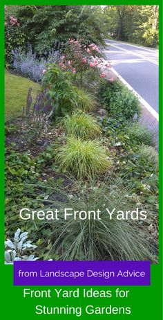 http://www.landscape-design-advice.com/front-yard-landscaping-ideas.html Take a look at some beautiful front yard designs for inspiration...even an award winning design.
