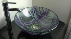 Purple Lilac Silver and Yellow Hand Painted Bathroom Glass Vessel Sink Basin by OffTheWallArtist08, $159.95 Glass Bathroom Sink, Glass Vessel, Glass Bathroom, Purple Lilac, Glass, Modern Glass, Painting Bathroom, Fused Glass, Glass Vessel Sinks