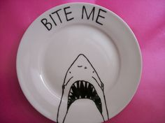 Items similar to Decorative Shark Plate in porcelain with a Hand Painted illustration on Etsy Pottery Plates, Ceramic Plates, Decorative Plates, Ceramic Pottery, Painted Plates, Hand Painted, Painted Pottery, Painted Rocks, Shark Gifts