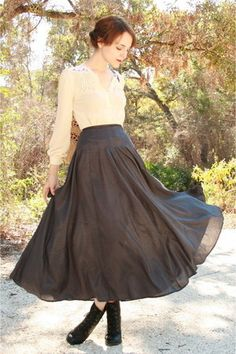 Ivory Blouse, Gray Maxi Skirt, and Black Boots ---- #bottom #top #shoes
