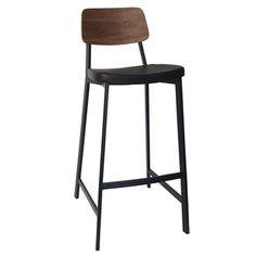 Espriit Commercial Grade 75cm Black Metal Frame Bar Stool with Black PU Seat