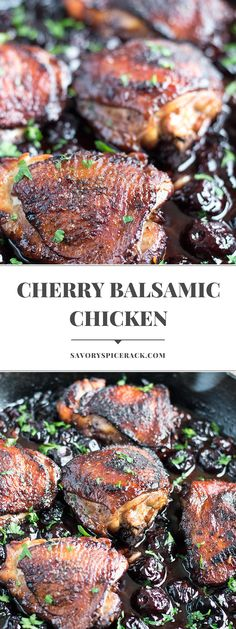Roasted Black Cherry Balsamic Chicken is another one pot meal that helps upgrade your chicken. Plus the taste reminds me of a barbecued chicken…. But better! #chicken #roastedchicken #balsamicchicken #savoryspicerack @savoryspicerack | savoryspicerack.com Great Chicken Recipes, Turkey Recipes, One Pot Meals, Easy Meals, Honey Butter Chicken, Barbecued Chicken, Gourmet Chicken, Star Food, Recipe Share