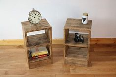I turn reclaimed pallet wood into beautifully simple, rustic bedside tables (nightstands). Theyre great if youre short on space, especially as you can use the shelving for storage. Idea: You dont have to use these in the bedroom, they also make great side tables or storage units