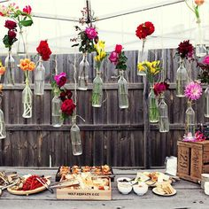 Cute way to hang flowers! mix it up with flowers and jars with tea light candles in it!