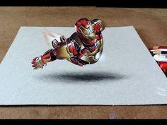 Drawing Iron Man 3D | Desenhando Homem de Ferro com efeito3D - YouTube