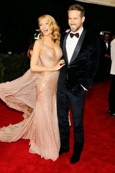 Gorgeous dress and couple! Blake Lively & Ryan Reynolds both wearing Gucci at the 2014 MET Gala.  #fashion #style #beauty #MetBall #MetGala #BlakeLively #Gucci #RyanReynolds #designergown #couture #celebritystyle #redcarpertfashion