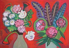 Marina Gorkaeva. Flowers.  Painting: Acrylic and Tempera on Paper.  49.5 H x 70 W x 0.1 cm.  2017