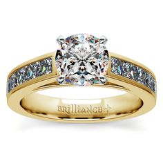 Princess Channel Diamond Engagement Ring in Yellow Gold (1 ctw)