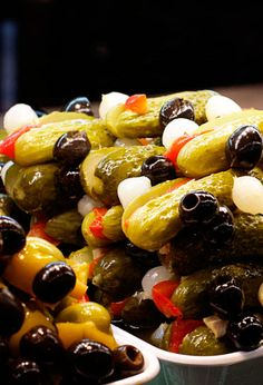 Pickles and olives from the San Miguel Market in Madrid, Spain
