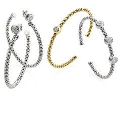 CHIMENTO yellow and white gold Stretch Bouquet bracelets with diamonds.