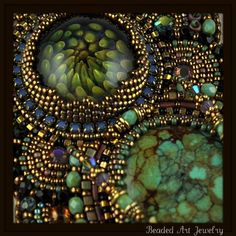 Closeup of the Butterfly Goddess necklace by Susan Pierle (beadedartjewelry on Etsy).