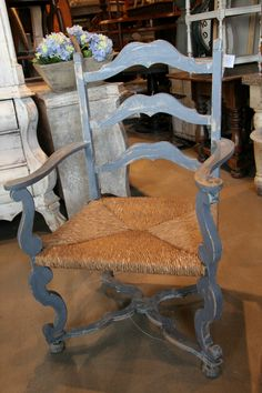 Antique French Country Chair with Old Blue Paint and Rush Seat