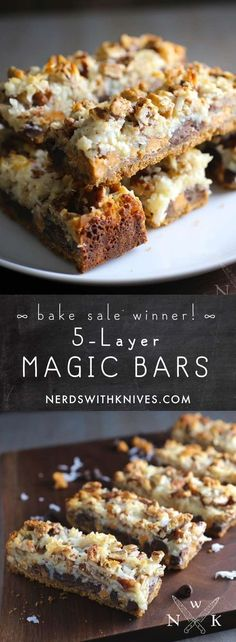 Five-layer magic bars made with coconut, chocolate chips, butterscotch chips, and toasted pecans held together by condensed milk on a graham cracker crust.