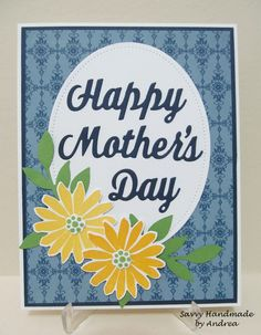 Mother's Day Card, Yellow Flowers, Handmade Mother's Day Card by SavvyHandmade on Etsy