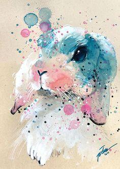 Tilen Ti - Bunny #3 • watercolor with gouache painting • A4 • art print