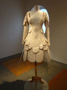 Fencing Dress #2: Ode to Jeanne d' Arc (Joan of Arc) (with detail), 2006–2007; merino wool, silk, antique lace, silk brocade, fencing mask, foil; handfelted.