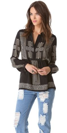 Twelfth St. by Cynthia Vincent Bell Sleeve Blouse | SHOPBOP | Use Code: SALE25 for 25% Off Sale Items
