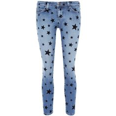 d3acc3d038b Current/Elliott 'The Stiletto' star print jeans ($255) ❤ liked on Polyvore  featuring jeans, pants, blue, bottoms, star jeans, star print jeans, blue  star ...