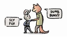 """"""" devonkong: """"aaaaa """" Sly Bunny Dumb fox also works ; Zootopia Comic, Zootopia Art, Zootopia Nick And Judy, Judy Hopps, Devon, Awesome Stuff, Dumb And Dumber, My Drawings, Carrots"""