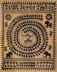 The Spiral - Warli Tribal Dance - Folk Art Paintings (Warli Painting from Maharashtra on Tussar Silk - Unframed) Arte Tribal, Tribal Dance, Tribal Art, Madhubani Art, Madhubani Painting, Dance Paintings, Indian Paintings, Om Namah Shivaya, Worli Painting
