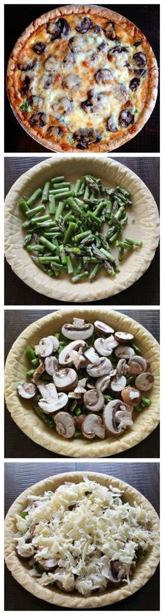 Mushroom, Asparagus, and Cheddar Quiche - an elegant brunch recipe that can be prepared in just minutes | via The Kittchen