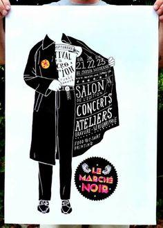 Affiche du Marché Noir - Illustration : Antoine Ronco / Graphisme : A. Folliard & J. Lemière