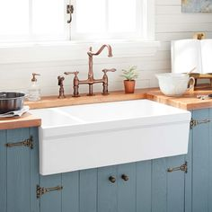 Buy the Signature Hardware 320014 White Direct. Shop for the Signature Hardware 320014 White Gallo Farmhouse Single Basin Fireclay Kitchen Sink and save. White Farmhouse Sink, Fireclay Farmhouse Sink, Farmhouse Sink Kitchen, Kitchen And Bath, New Kitchen, Kitchen White, Kitchen Ideas, Kitchen Cabinets, Oak Cabinets