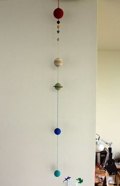 Beautiful Solar System Mobile not only for kids room but your living room! Children may learn about order of a planet naturally?? This mobile made